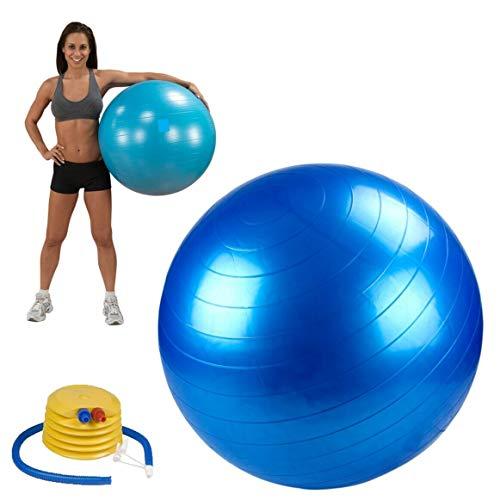 StabilyFoot Gymnastikball, 55 cm, 65 cm, 75 cm und 85 cm, Anti-Burst & extra dick, Schweizer Ball mit Pumpe, Geburtsball für Yoga, Pilates, Fitness, Schwangerschaft & Arbeit, blau, 55 cm