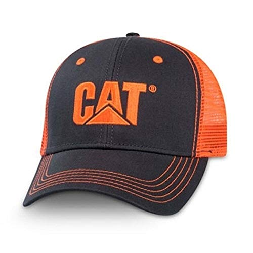 Cat Caterpillar Equipment Neon Charcoal/Orange Safety Snapback Mesh Cap/Hat