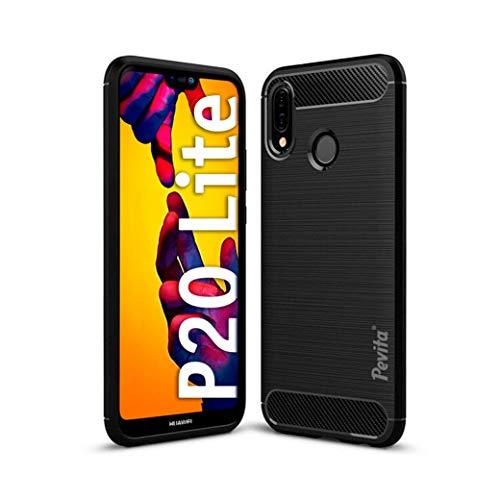 Funda Protectora para Huawei P20 Lite - Carcasa de TPU con diseño de Fibra de Carbono y Cubierta de Silicona. Funda de móvil Negra Huawei P20 Lite