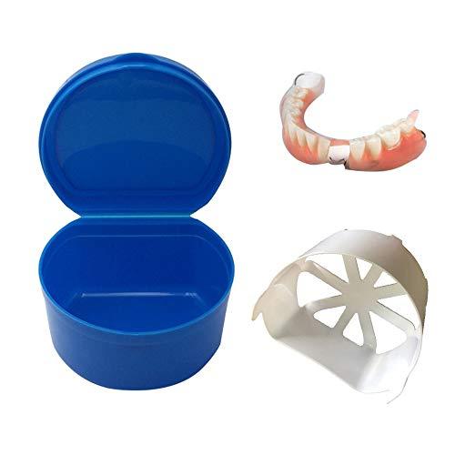 Gaddrt Zahnfeebrief Zahndosen Gebiss-Bad-Kasten-Kasten-Zahnmedizinische Falsche Zahn-Aufbewahrungsbehälter Mit Hängendem Netzbehälter Gebissbehälter 9.2 X 8.5X 5. 7cm (Dark bule)
