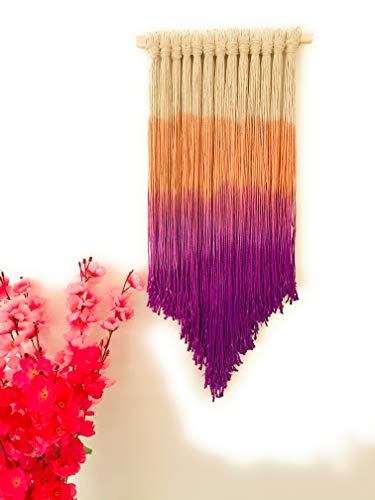 CARDIGGERZZZ Macrame Boho Chic DIP Dyed Ombre Multicolour Wall Hanging (31X65CM) (Orange, Purple, Off White)