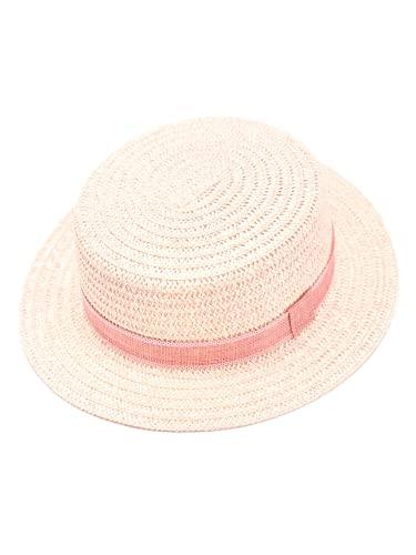 accsa Sonnenhut Mädchen Hut aus Stroh Flat Top Strohhut Panama Hut Strand Fedora Sommerhut Anti-UV für Garten Strand Reisen