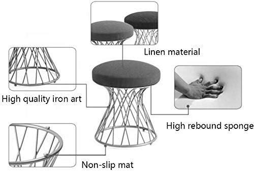 B-fengliu Tabourets Linen d'or Jambes Maquillage Mode Métal Repas Dressing Chaise Table à thé chaises (Color : B) E