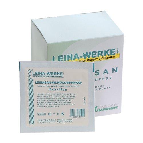 LeinaSan Sterile Wundkompressen / Vlieskompressen, nicht wundverklebend, sehr weich, Größe:10cm x 10cm - 25x2 Stck.