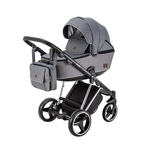 BeBe-Mobile 5902479590769 Kombikinderwagen 2in1 Kinderwagenset Babywanne Buggy Nanu Special Edition NA433, grau