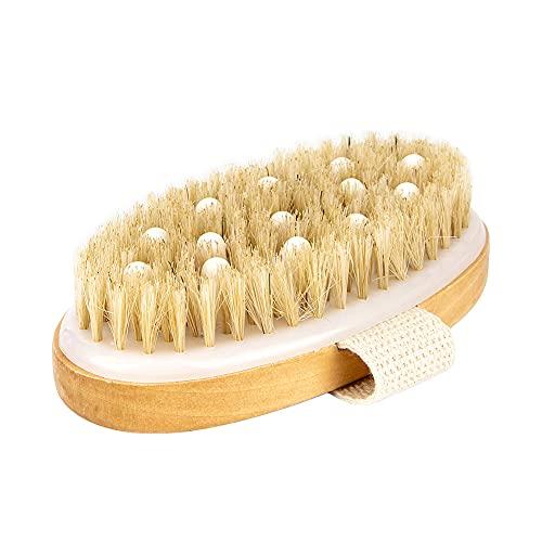 Iriisy Cuerpo Cepillo para Limpiar Espalda, Exfoliar la Piel, Masaje Corporal, Suave Natural Cerdas Cepillo, Limpar Cuerpo, Exfoliación, SPA, Baño, Uso de Cepillado Húmedo o Seco