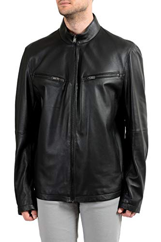 Hugo Boss Noklin Men's 100% Leather Black Full Zip Jacket US 2XL IT 56