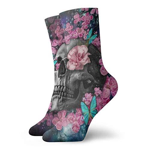 BJAMAJ Unisex Socken Totenkopf & Rosa Blumen Interessante Polyester Crew Socken Erwachsene Socken Baumwolle
