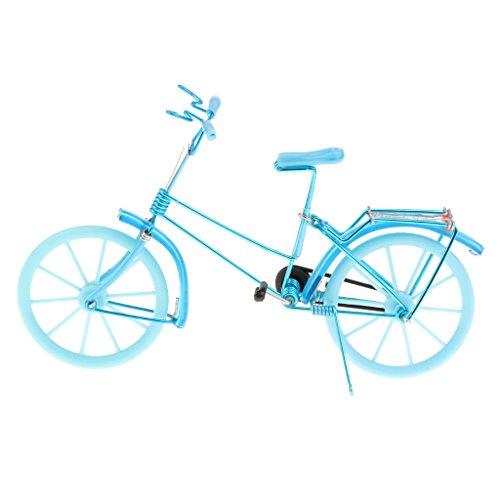 Toygogo Modellino Bicicletta Bicicletta Modello Artigianale Collezione di Decori Giocattolo - Azzurro