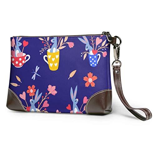 XCNGG Weiche wasserdichte Herren Leder Clutch Bag Nette Hasen in einer Tasse Damen Clutch Leder Handtasche mit Reißverschluss für Frauen Mädchen