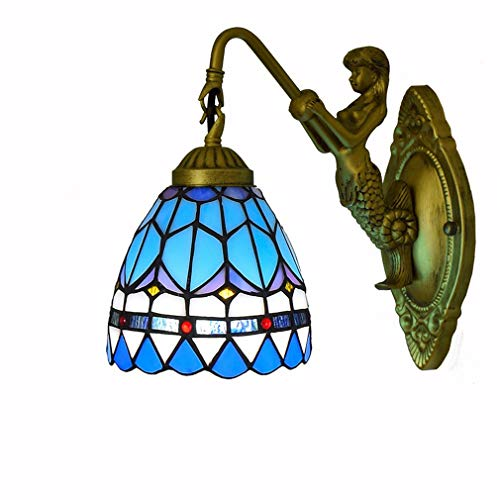 Tiffany-Art-wandlamp, wandlamp, vintage creatieve wandlamp, blauw, gekleurd glas, spiegel, voorlamp voor slaapkamer, nacht gang