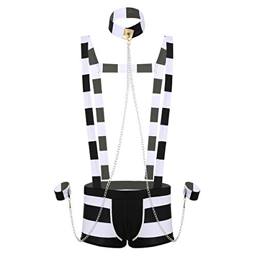 ranrann Herren Gefangener Cosplay Unterwäsche Set Hosenträger Shorts Ouvert Unterhose mit Kragen Armbänder Nachtwäsche Reizvoll Schwarz&Weiß Medium