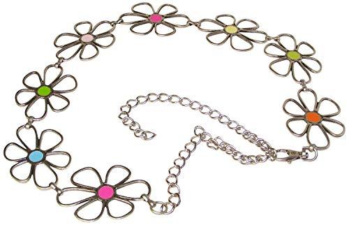 FRONHOFER Kettengürtel silber, Gürtel Kette Blumen bunt, Damen, verstellbar, 17769, Größe:One Size, Farbe:Silber
