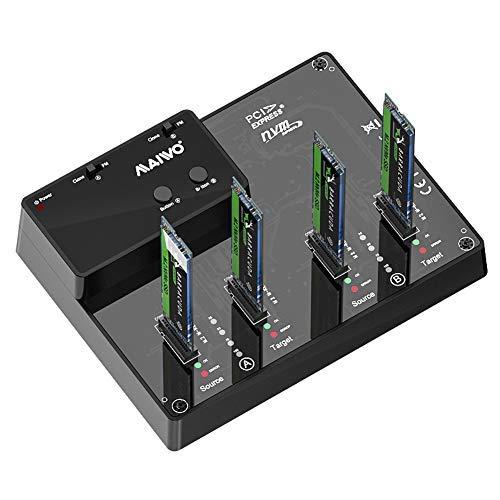 MAIWO K3015P2 Docking Station, Caja de Disco Duro Base de Cuatro bahía M.2 NVMe, estación de Acoplamiento admite Clone y duplicador Offline Función, USB C 3.1 Gen 2 con hasta 10Gbps.