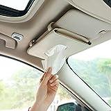 Car Tissue Holder, Sun Visor Napkin Holder, Car Mask Holder for Sun Visor, Masks Dispenser for Car, Car Tissue Box with Tissue Refill (Beige)