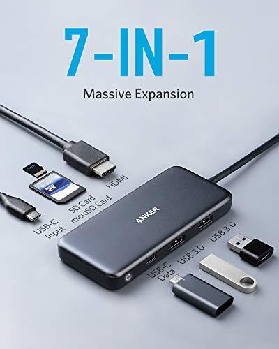 Anker USB-C-Hub, PowerExpand+ 7-in-1 USB-C-Hub-Adapter, mit 4K HDMI, Stromversorgung, USB-C-Datenanschluss, microSD- und SD-Kartenleser, 2 USB-3.0-Anschlüsse, für MacBook Pro, Pixelbook, XPS und mehr