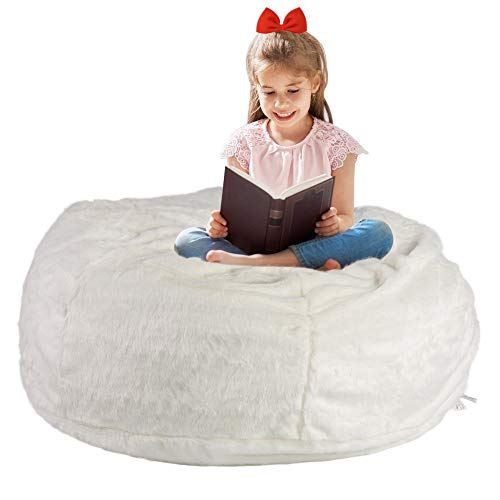 LUCKYERMORE 3FT Bean Bag Chair White Luxurious Furry Faux Fur Cover Soft Self-Inflated Beanbag Sofa Lounger for Adults Kids,Sponge Filling
