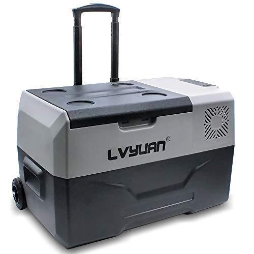 LVYUAN 30 Liter Kompressor-Kühlbox 12V und 230V CX30 elektrischer Mini-Kühlschrank für Camping, Auto oder LKW mit Steckdose und USB-Anschluss