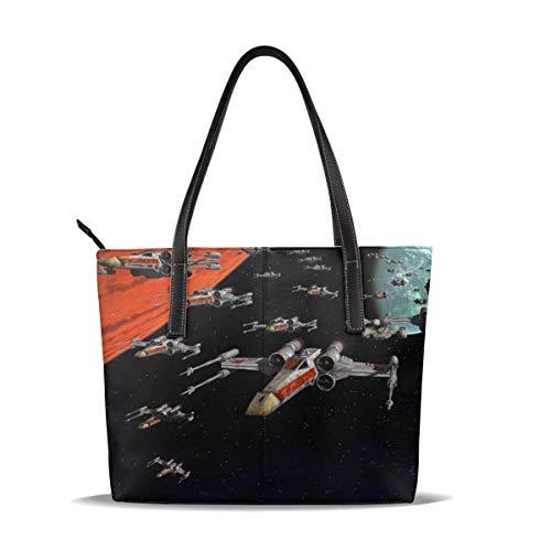 Anime Movie Jedi Orden Bolsa de mano para mujer con cremallera de cuero, Big Caity impermeable duradero interior 1 cremallera Poeta adecuado