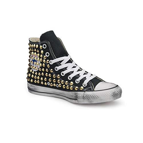 Zapatos negros tachuelas (artesanales) con tachuelas punta cono oro con efecto envejecido Negro Size: 43 EU