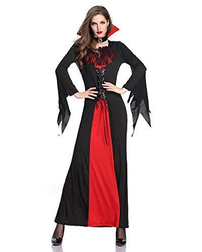 Disfraz de vampiro para mujer, disfraz medieval, con cordones y cuello, disfraz de vampiro para Halloween, carnaval
