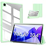 DUZZONA Funda Compatible con Samsung Galaxy Tab A7 10.4 2020 (T500 T505 T507),Superligera Transparente Carcasa con Soporte Flegable Función Auto Reposo/Estela,para Tab A7 2020,Claro Verde