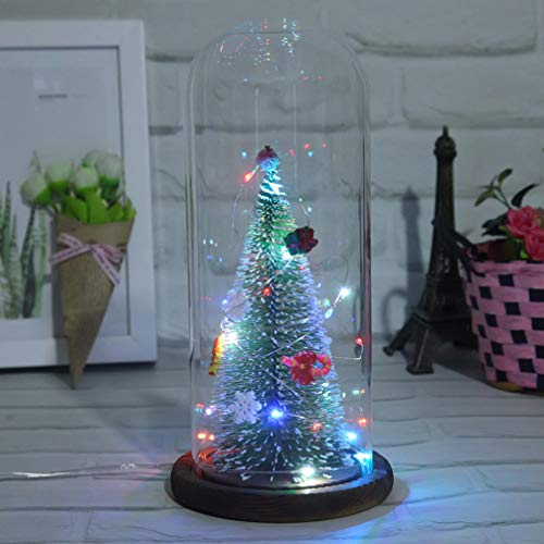 OSALADI Weihnachtsbaum Globus Kuppel Ornament Licht Batteriebetriebene Tischleuchte Künstlichen Baum Führte Nachtlicht in Glaskuppel Geschenke für Hochzeit Valentinstag Jubiläum