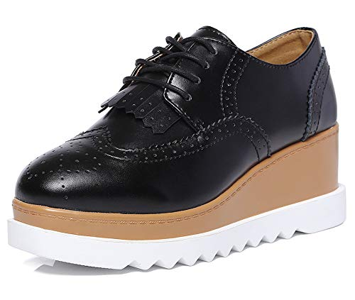 DADAWEN Women's Fashion Tassels Square-Toe Lace-up Platform Wedge Oxford Shoes Black US Size 5.5