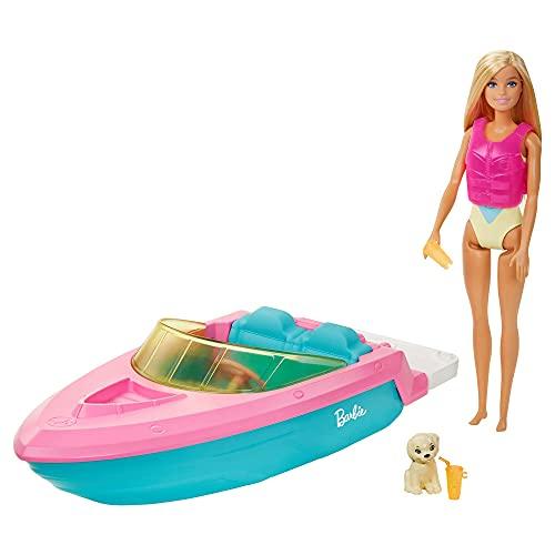 Barbie con Barco, Muñeca con bañador y barco de juguete para el agua, con mascota y accesorios acuáticos (Mattel GRG30)