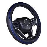 ISTN Cubierta de Volante de Cuero de Microfibra 38 cm para la mayoría de los Autos (Negro Azul Oscuro)