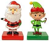 Solar Powered Dancing Head Shaking Christmas Figurine Toys - Bobblehead Car Ornament or Window Decor (Santa & Elf)