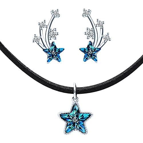 Yumilok-Conjunto de cadena de clavícula de cristal de estrella azul cadena negra S925 pendientes con incrustaciones de piedra de estrella de plata esterlina hermosa y de moda