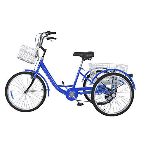 Dreirad für Erwachsene 24 Zoll 7 Gänge Erwachsenen Dreirad mit Korb 3 Rad Fahrrad für Erwachsene Adult Tricycle Comfort Shopping Tricycle Fahrrad Outdoor Sports Stadt Vorstadt (Blau)