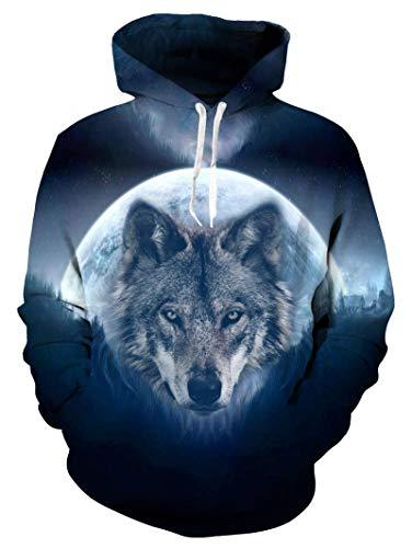 Idgreatim Wolf Herren-Hoodie, cool, Galaxy-Pullover, Sweatshirt, 3D-Grafik, Langarm, leger, Hoodie, Winter, Frühling, XL