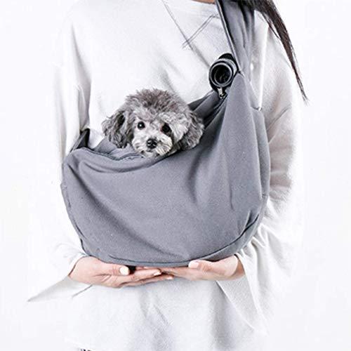 Transportín Ajustable para Perros, Bolsa de Viaje para Cachorros con Manos Libres para Mascotas, Mascota con Correa para el Hombro Acolchada Suave, Malla Transpirable y Bolsillos adicionales,
