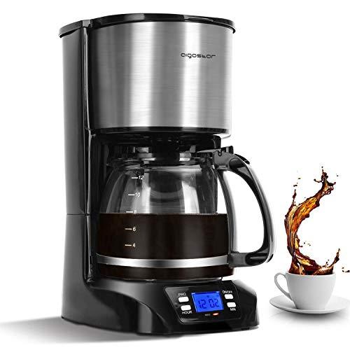 Aigostar Benno - Macchina da caffè americano e tè da 800 W con filtro riutilizzabile e piastra riscaldante, macchina caffe con mantenimento calore, capacità 1,5 L, timer 24 ore, sistema antigoccia