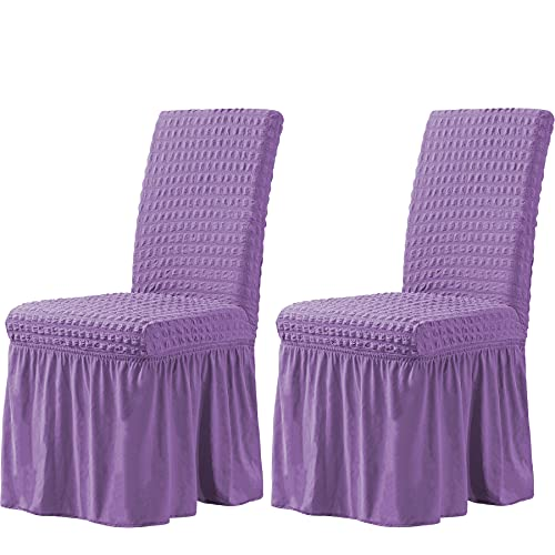 CHUN YI Stretchy Universal Easy Fitted Dining Chair Cover Slipcovers with Skirt, Removable Washable Furniture Chair for Kids Pets Home Ceremony Banquet Wedding Party(2Pcs,Lavender)