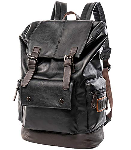 male backpack for schools Vintage PU Leather Backpack for Men,Laptop Backpack for School Travel College Bookbag Computer,Large Backpack for Women YZ11
