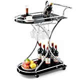 Tangkula Rolling Bar Cart, Glass Serving Cart with Metal Frame and 2 Tempered Glass Shelves, Tea/Wine Serving Bar Cart with 4 Wheels, Ideal for Kitchen, Hotel or Restaurant (Silver & Black)