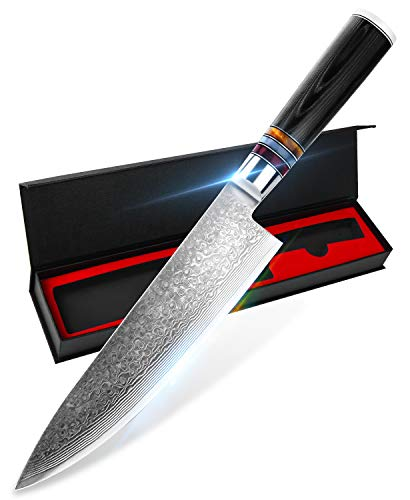 YAIBA Damastmesser Kochmesser 20cm, Japanisches Messer 67 Schichten Damaststahl VG10 Kern, Chefmesser Damastmesser mit ergonomischem Micarta-Griff[Geschenkbox]