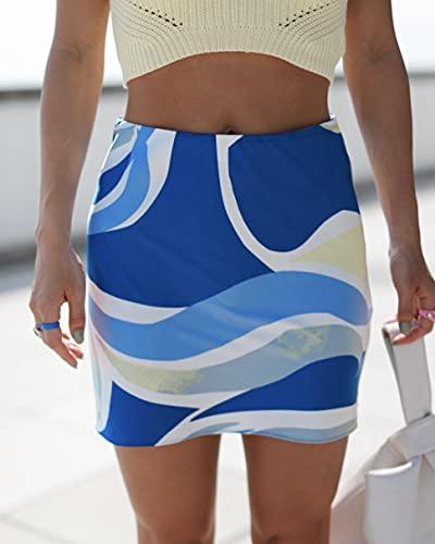 The Drop Women's Blue Abstract Print Slim Mini Skirt by @_laurenwolfe_