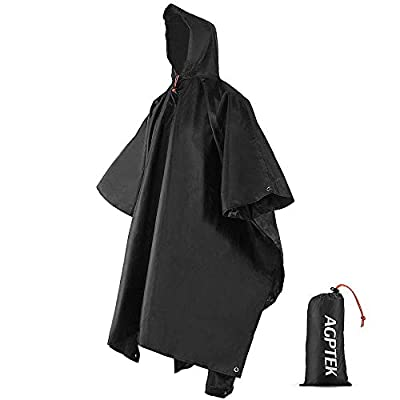 AGPTEK Reusable Rain Ponchos with Hood & 1 Pouch for Adults, Hiking, Camping, Black