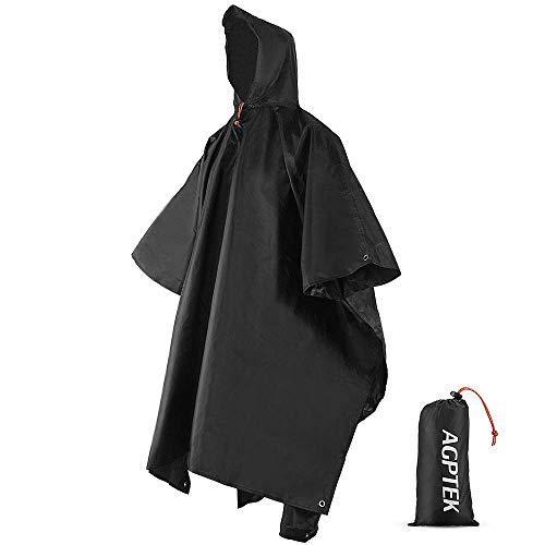 AGPTEK ポンチョ レインコート雨がっぱ レインポンチョ 多機能 雨具 帽子 防水 防汚 男女兼用 収納袋付き マジックテープ付き (ブラック)