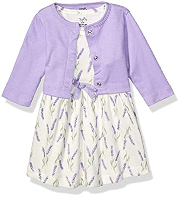 Touched by Nature Baby Girls Organic Cotton Dress and Cardigan, Lavender, 3-6 Months