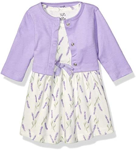 Touched by Nature Baby Girls Organic Cotton Dress and Cardigan Lavender 12 18 Months product image