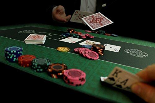 Profi Pokermatte grün in 100 x 60cm von Bullets Playing Cards für den eigenen Pokertisch – Deluxe Pokertuch – Pokerteppich – Pokertischauflage – ideal als Geschenk - 7
