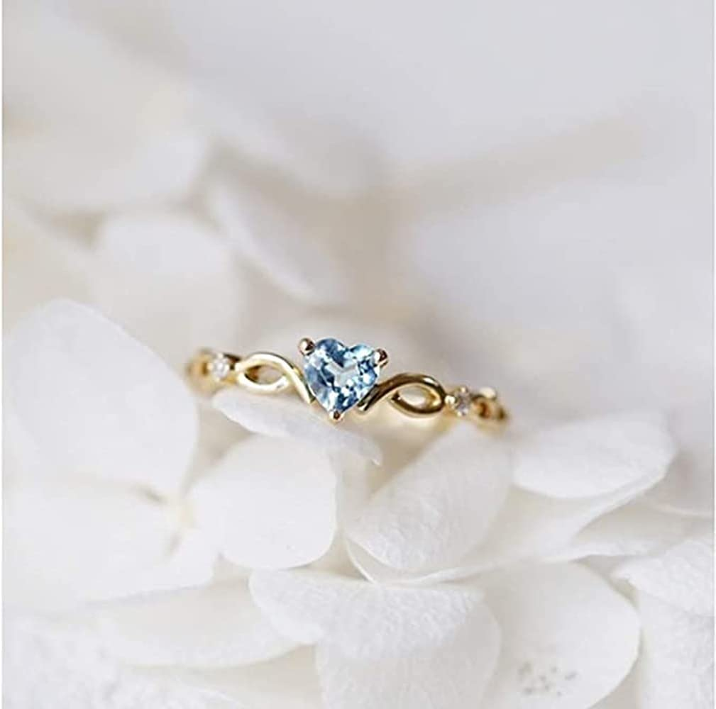 Koguxuix 14k Gold Sea Blue Topaz Love Heart CZ Crystal Diamond Ring Women Anniversary Engagement Wedding Gemstone Ring (6)