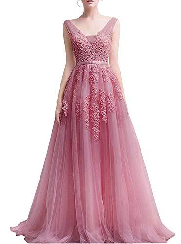 Romantic-Fashion Damen Ballkleid Abendkleid Brautkleid Lang Modell E001-E006 Blütenapplikationen Tüll DE Altrosa Größe 46