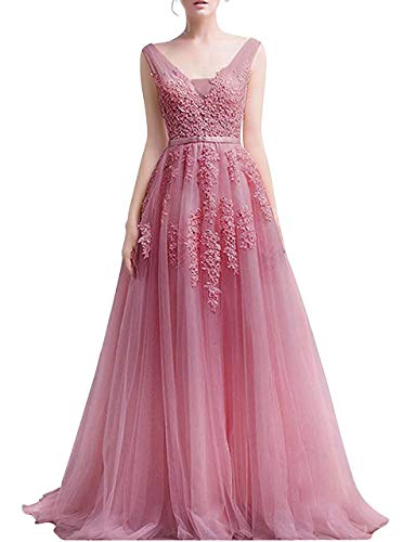 Romantic-Fashion Damen Ballkleid Abendkleid Brautkleid Lang Modell E001-E006 Blütenapplikationen Tüll DE Altrosa Größe 42