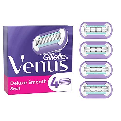 Gillette Venus Deluxe Smooth Swirl Rasierklingen Damen, 4 Ersatzklingen für Damenrasierer mit...